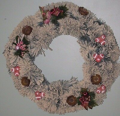 "VINTAGE LARGE 24"" x 6"" Snow Flocked BOTTLE BRUSH Wreath PINK Picks Satin Balls"
