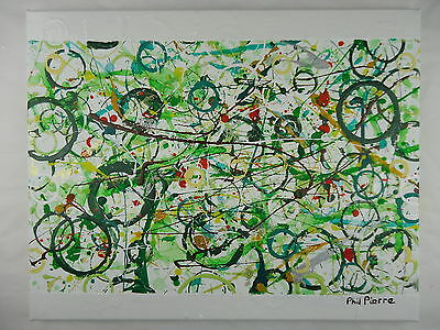 Phil Pierre - GREEN BUBBLES 030 - new original abstract painting - cotton canvas