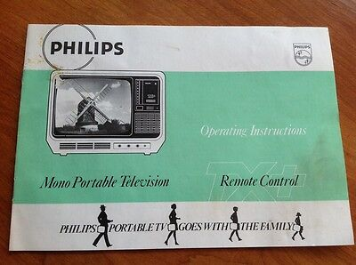 Philips Mono Portable Television Operating Instructions Vintage Manual Leaflet
