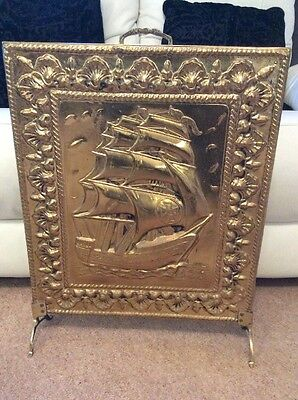 Vintage Retro Embossed Brass & Wood Fire Screen - Galleon / Ship