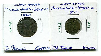 German States : Mecklenburg - Strelitz lot of two different coins 1845 - 1862