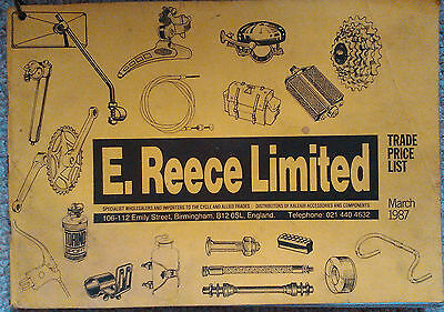 E Reece Limited bicycle trade price list catalogue - March 1987