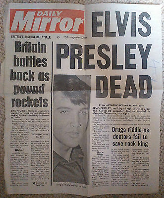 Elvis Presley Dead - Daily Mirror front page complete clipping 17 August, 1977