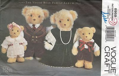 *Vogue Craft 8959 BEAR FAMILY WARDROBE Linda Carr Sewing Pattern Uncut
