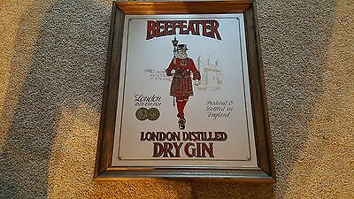 BeefEater London Distilled Dry Gin Glass Mirror Sign