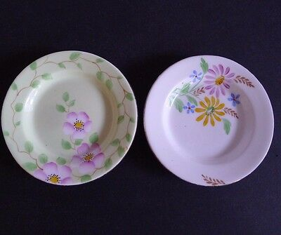 "2 Vintage BELL CHINA England Fine Bone Butter Pats Hand Painted 3 5/8"" Dia."