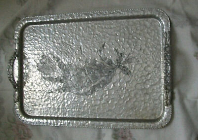 tray Vintage unique silver toned hammered effect aluminum/metal serving tray