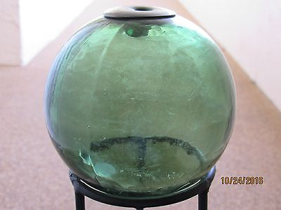 Antique Marked? Glass Fishing Float, 16 Inches Circumference, Hunter Green Color