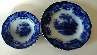 Lot of 2 Antique~ Early Victorian ~ 1830's Flow Blue plate & bowl. Scinde