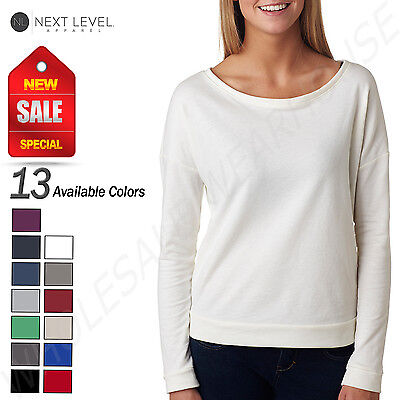 NEW Next Level Ladies French Terry Long Sleeve Scoop Neck M-6931