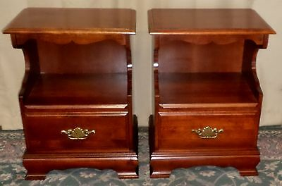 SOLID CHERRY NIGHTSTANDS Two Tiered Bedside Tables PAIR VINTAGE