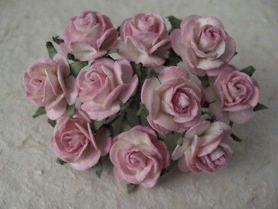 50 x 10mm Mulberry Paper PINK/WHITE ROSES 519  Wedding crafts Cards Scrapbooking