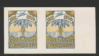 Test print pair 1914 Danish West Indies Christmas seal light print -  Mint