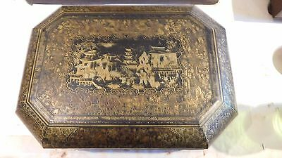 Quality Chinese workbox beautiful lacquer work  imperial scenes late 1800's