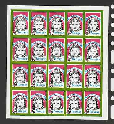 1972 Barnahjàlpin Føroyar girl light Green frame full sheet - 100% mint