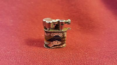 "Vintage Japanese ""Perky"" Petrol Lighter with Cherry Blossom Scene - Tiny & RARE!"