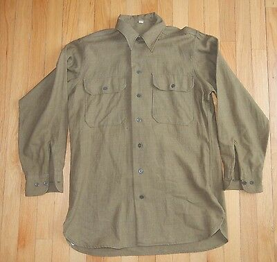 WW2 U.S. Army OD Flannel Field Shirt with Gas Flap Size 15 ½ x 33