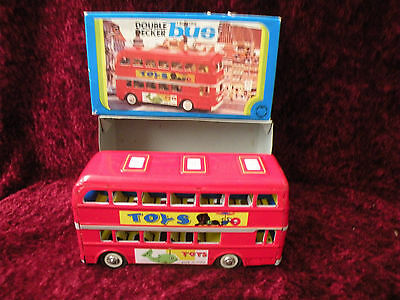 LONDON DOUBLE DECK BUS MF849  TIN FRICTION NEW Vintage RED CHINA 1970s MINT