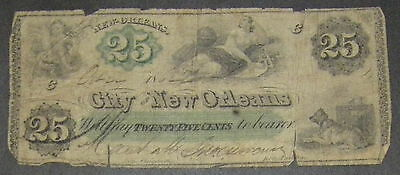 1862 City of New Orleans 25 cent Currency Note