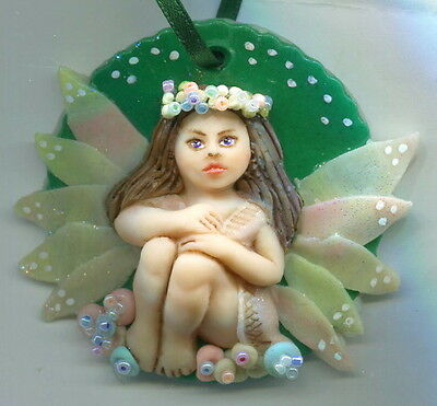OOAK Fairy Flower Beaded Ornament Miniature Lark Art Doll Mermaid Sculpt Biel