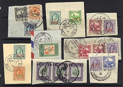 JORDAN PALESTINE 1950's COLL OF 17 FULL W. BANK CANCEL TYING 30 STAMPS ON PIECES