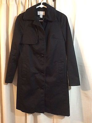 H&M Womens Trench Coat Jacket Size 2 Black Front Button