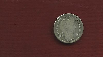 1898  Plain 90% Silver Barber Dime Well Used Free Shipping B20