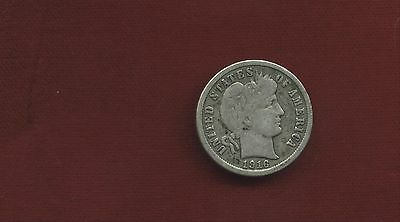 1916 Plain 90% Silver  Barber Dime Well Used Free Shipping B39
