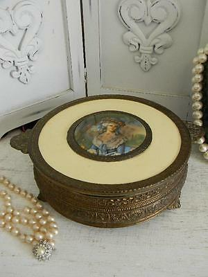 Lg. Antique Vanity Dresser~Candy Box~Divided Glass Insert~French Lady Cameo