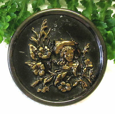 Large Victorian Picture Button Woman In Fancy Hat D50
