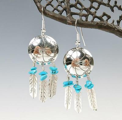 Navajo Jennifer Begay 925 Sterling Silver Turquoise Feather Drop Earrings