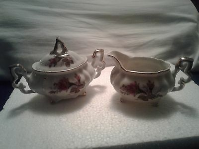 Vintage Sugar and Creamer set flowers  with gold trim, Nice!!!!!