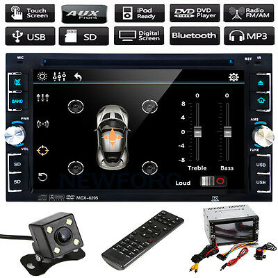 "6.2"" TouchScreen Double 2DIN Car Stereo CD DVD Player Bluetooth Radio USB+Camera"