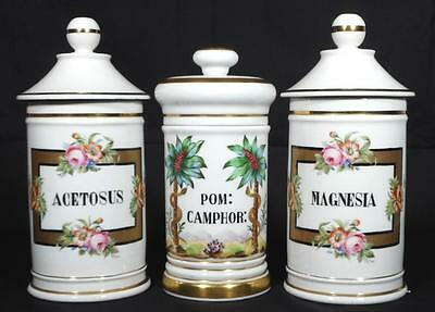 Three Vintage Porcelain Pharmacy Apothecary Jars - Excellent condition