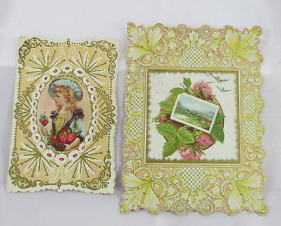 Antique Victorian Paper Valentines Day Card Girl w/Roses& Scenic x2