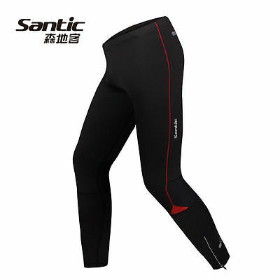 SANTIC Cycling Men's Compression Running Tights Pants Body Fit Black