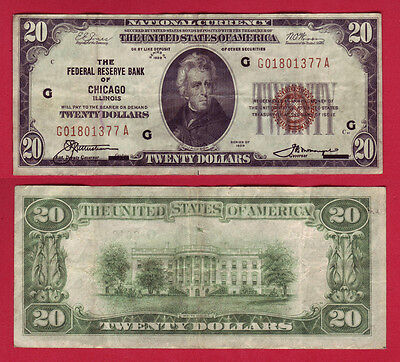 1929 $20 National Currency Chicago Illinois Federal Reserve Bank Fr-1870G (P697)