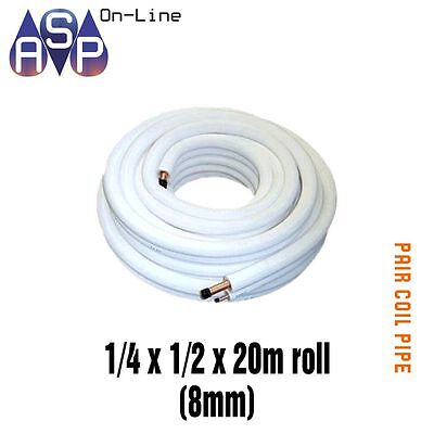 Pair / Twin Coil White Insulated Copper Pipe Tube 1/4 X 1/2 20M Roll 8Mm Wall