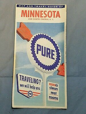 Vintage PURE OIL COMPANY - Complimentary Highway Road Map - MINNESOTA 1960s