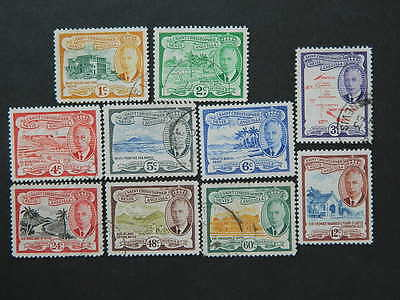 1707 St Kitts Nevis  Sc# 107-116 (Sg 107-116)  Mounted Mint/used