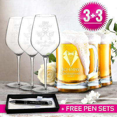Ultimate Wedding Gift 3 x 500ml Beer Mugs & 3x 350ml Wine Glasses Engraved Glass