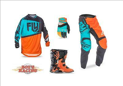 Fly Racing F-16 Jersey,pant,glove, Orange Boot Combo Orange And Teal Sx Mx