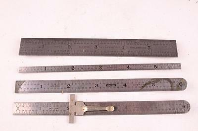 "Lot Of 4 Metal Machinist 6"" Rules Starrett # 603 & General # 300"