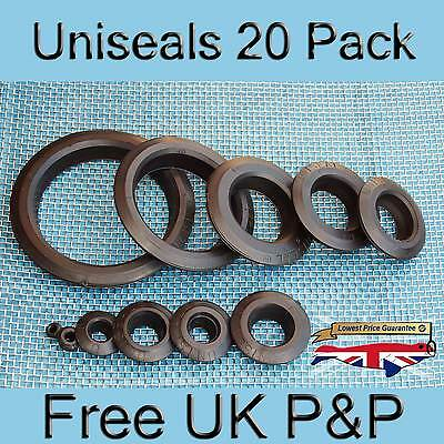 Uniseal (Pack of 20) All Sizes Hydroponics Koi pond tank connector bulkhead