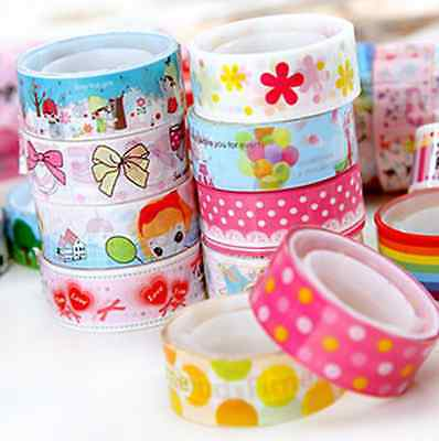 10 Rolls Cartoon Cute Paper Sticky Adhesive Sticker Decorative Washi Tapes Gift