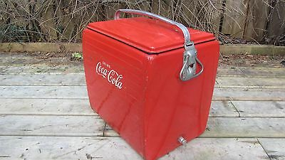 Vintage Canadian Made Metal 1950's Coca-Cola Cooler With Embossed Logo