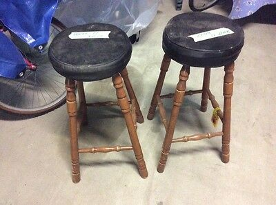 Bar stools x 2 padded seats, wooden turned legs.