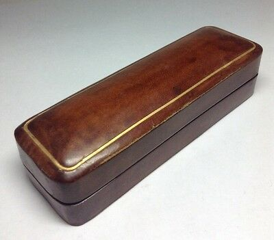 Antique Genuine Brown Leather Cigarette Holder Case Made In Italy Size 3.4""