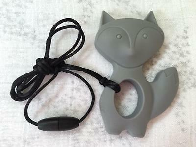 Baby Silicone Teething Necklace Nursing Jewelry Gray Fox Teether for Mom