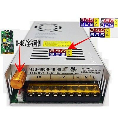 DC 0-48V 10A 480W Adjustable Switching Power Supply Voltage Current Display